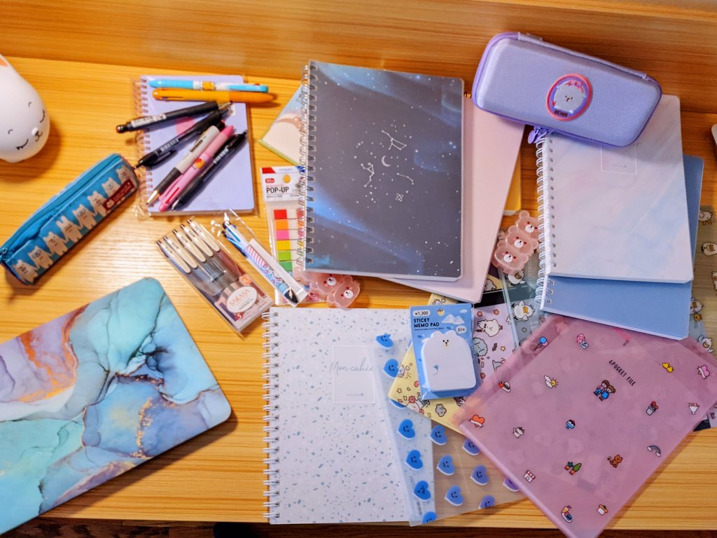 Cute school supplies from Morning Glory. Miss Moody Lilac desks.