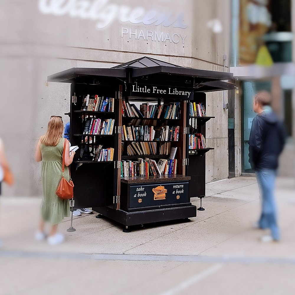 Little Free Library stand in Boston.