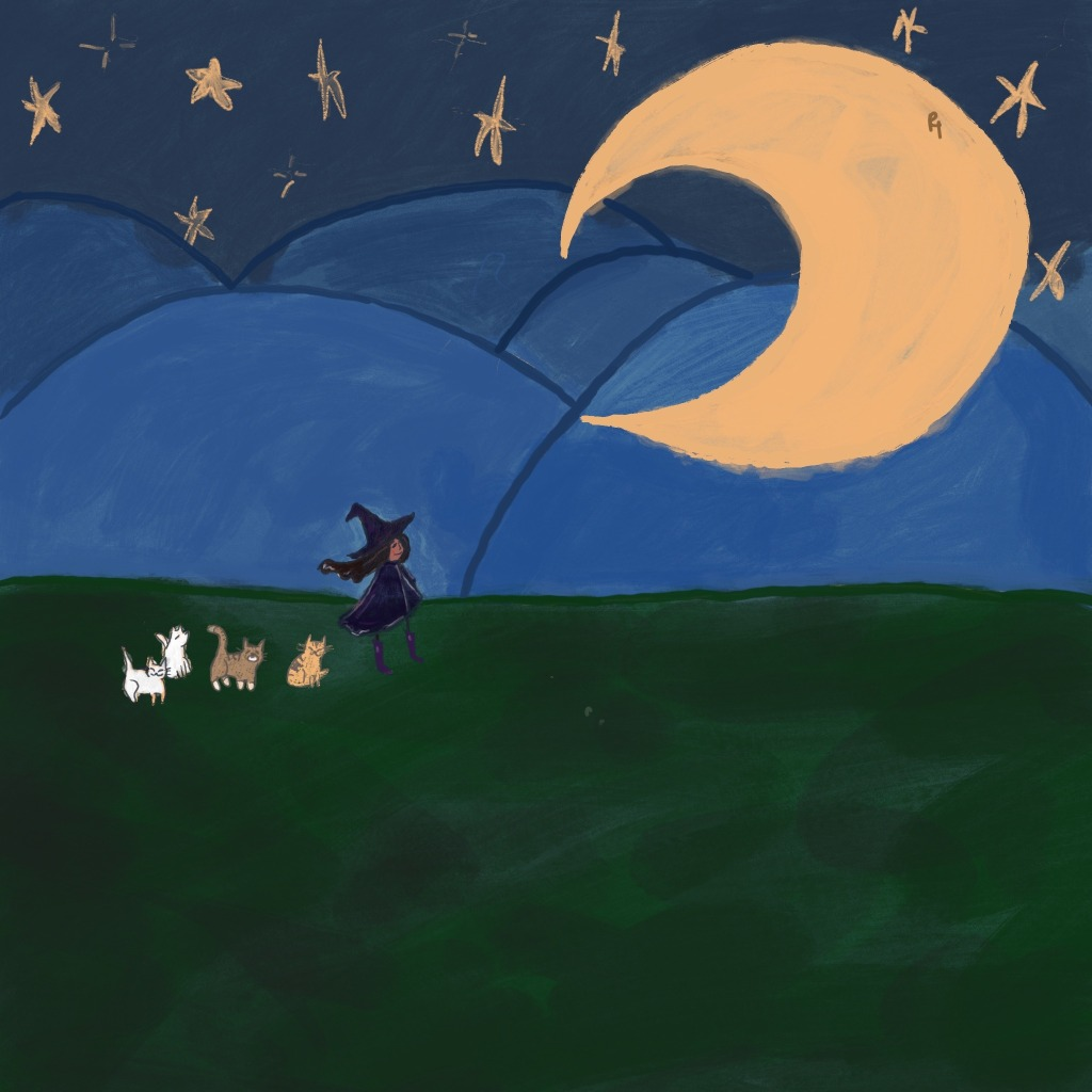 Miss Moody lilac sketch as a witch with four cats in front of a big moon.